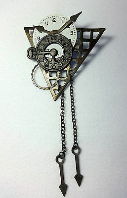 Hand crafted Upcycled Artisan Brooch Steam Punk Look with watch clock parts