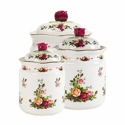 Set of 3, Royal Albert Old Country Roses Canisters NEW