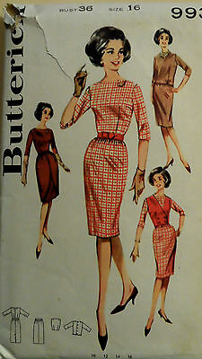 Vtg 60s Work Day to Cocktail Party Dress Ensemble Butterick 9935 Bust 36 Sz 16
