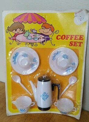 Vintage Child Toy Cornflower Blue Corning Ware Doll Plastic Dish Coffee Set NEW