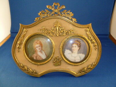 Antique 19th Century French Miniature Portrait of two royal ladies.
