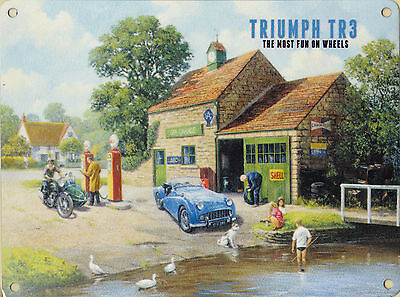 New large 30x40cm TRIUMPH TR3 vintage enamel style tin metal advertising sign