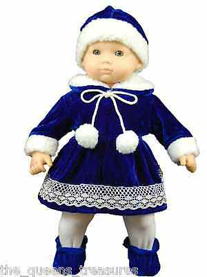 """NEW DOLL CLOTHES MADE FOR AMERICAN GIRL BITTY BABY 15"""" DOLLS BLUE VELVET"""