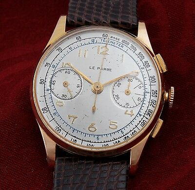 Vintage 18K SOLID GOLD - LE PHARE CHRONOGRAPH Wristwatch! - STUNNING!