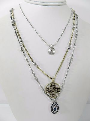 Lucky Brand Necklace  Silver-Tone Delicate Triple Layer Necklace