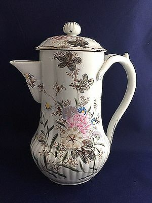 Vintage Porcelain Hand Painted Floral Coffee Tea Pot 8.5 inch Tall