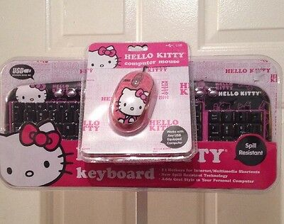 New Hello Kitty USB Keyboard Spill Resistant w/11 Hot Keys & USB Computer Mouse
