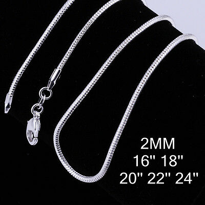 """2pc Fashion Jewelry 925 Silver Snake Chain Unisex Necklace 2MM 16""""-24"""" C010"""
