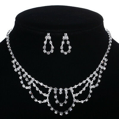 Special Women Wedding Party Crystal Silver Tone Necklace Earrings Jewelry Set