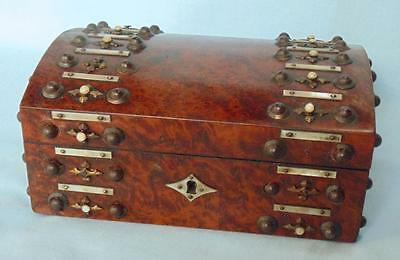 Antique Burr Walnut Ladies Sewing Box With Mother Of Pearl Decoration