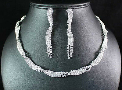 ART DECO CLEAR AUSTRIAN RHINESTONE CRYSTAL NECKLACE EARRINGS SET BRIDAL N1512