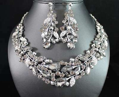 WEEPING WILLOW AUSTRIAN RHINESTONE CRYSTAL NECKLACE EARRINGS SET N1781-BLACK