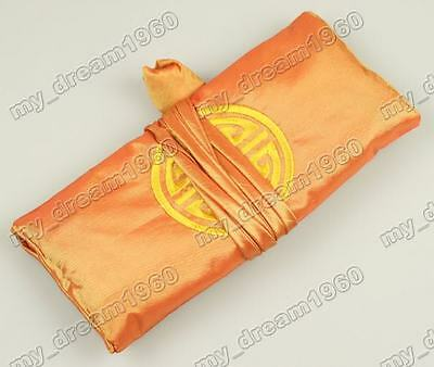 1PCS EMBROIDERED BROCADE SILK JEWELRY ROLLS PURSES WALLETS Orange