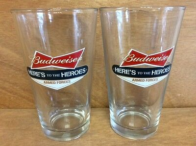 Budweiser Armed Forces 16 oz Pint Glass - Set of 2 Glasses - New