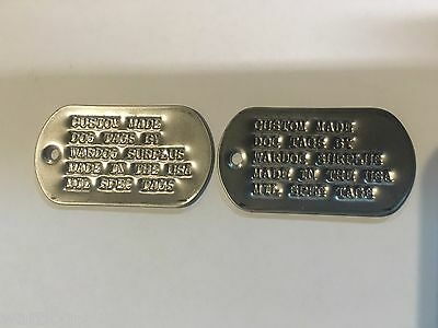 Set of 2 Replacement U.S Military Custom Personalized  / ID Matte Dog Tags Army