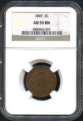1869 Two Cent Piece NGC AU-55 BN Rare Coin! Better Date!