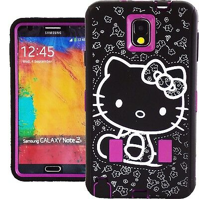 Hot Pink Hello Kitty Hybrid Case for Samsung Galaxy Note 3 Shockproof Cover