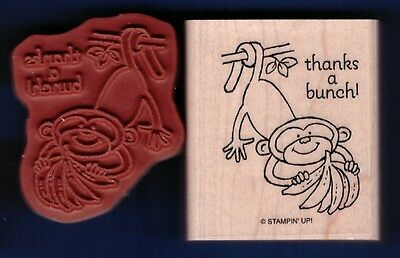 MONKEY THANKS A BUNCH! Wildlife Animal NEW Stampin' Up! Wood Mount RUBBER STAMP