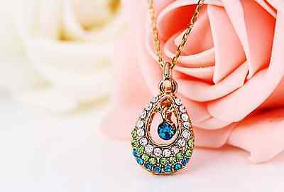 Korean Lady Cute Charm Blue Gold Crystal Tears Beads Hollow Out Pendant Necklace