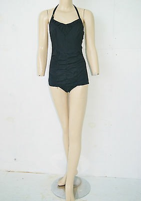 Vintage 50's Atomic Rockabilly Pin Up Black Swimsuit Bathing Suit by Nan Dorsey