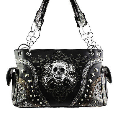 CONCEALED CARRY WESTERN HANDBAG WITH RHINESTONE SKULL AND CROSSBONES