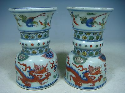 beautiful chinese WU CAI porcelain a pair candle holder