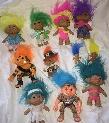 """Lot of 11 Vintage 1990's Trolls. 6"""" to 2 1/2"""""""