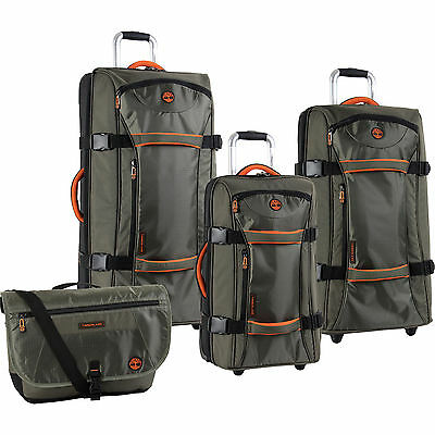 TIMBERLAND TWIN MOUNTAIN OLIVE ORANGE 4 PIECE LUGGAGE SET $1240 VALUE NEW