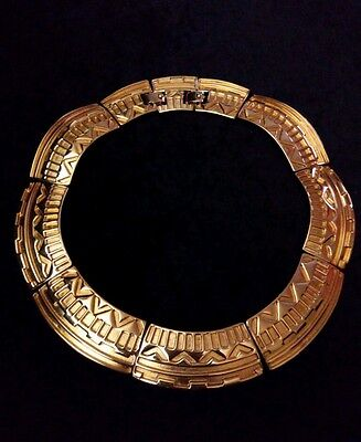 Rare Vintage 1980's Monet Gold Plated Aztec Collar Statement Necklace *STUNNING*