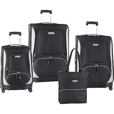 NAUTICA DOWNHAUL SPINNER BLACK GREY 4 PIECE LUGGAGE SET $1030 VALUE NEW