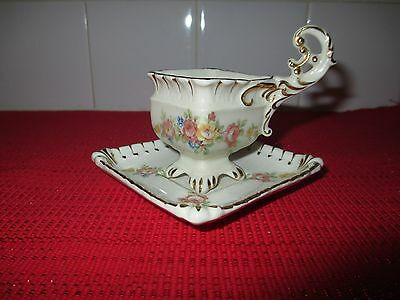 Beautiful Vintage Shafford China Square Shaped Floral Small Cup and Saucer