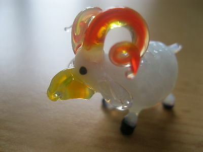 """Miniature Hand Blown Glass Figurine Russian Murano White Ram Decor Gift Toy"