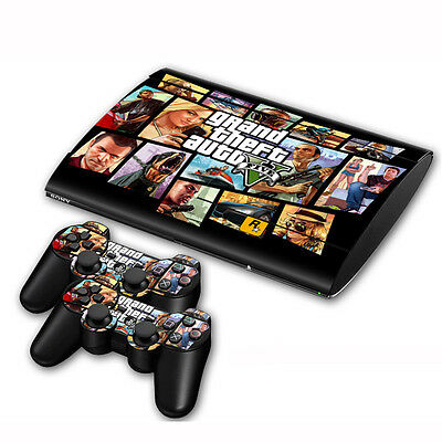 Skin Sticker For PS3 PlayStation Super Slim 4000 + 2 Controllers Vinyl Decal #33