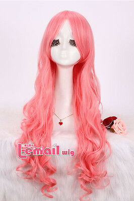 Fashion Women Lady Long Wavy Curly Pink Cosplay Party Full hair Synthetic Wig