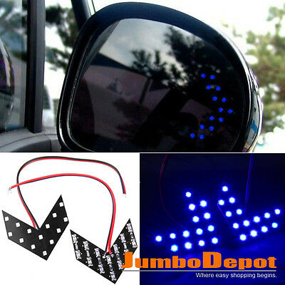 Blue Car 14SMD Arrow Panel LED Light Side Mirror Turn Signal Rear View For Honda