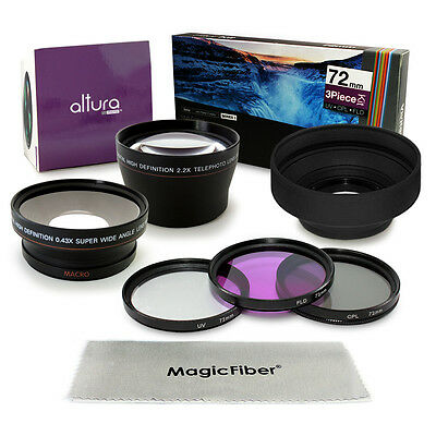 72MM Altura Wide Angle Telephoto Lens + Filter Kit for Canon DSLR 18-200MM