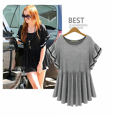 Casual XL-5XL New Fat SIZE Slim Short sleeve Pleated Loose T shirt Tops Blouse