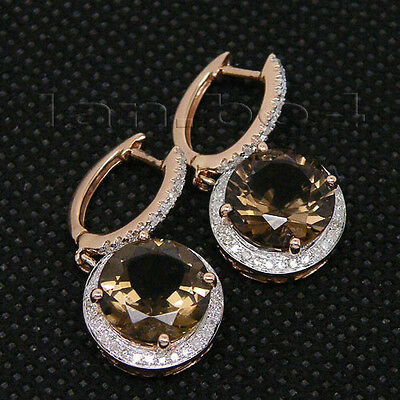 Lovely Natural Diamond Smoke Topaz Earrings In 14Kt Rose Gold Round 10mm E0006