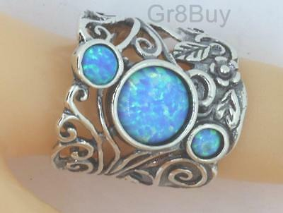 RING: 925 STERLING SILVER WIDE 3 STONE OPAL/TURQUOISE  (by Shablool) #9
