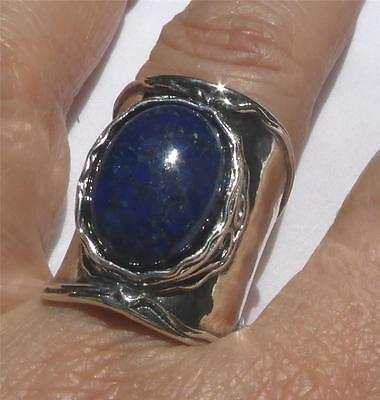RING: Ladies Large 925 Sterling Silver - LAPIS LAZULI  (Made by Shablool) 8 or 9
