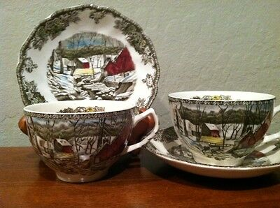 """Lot of 2 sets Johnson Bros. cup and saucers """"The Friendly Village"""""""