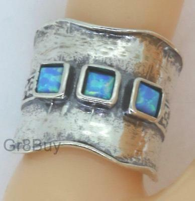 RING: LADIES 925 STERLING SILVER - 3 Square CZ OPALS (by Shablool)