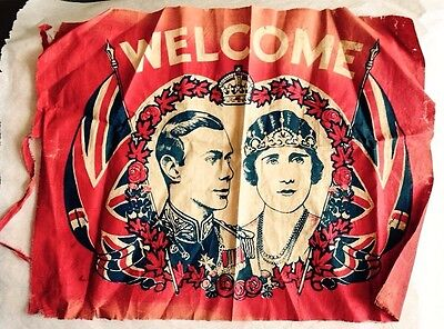 1939 GEORGE VI and QUEEN ELIZABETH CORONATION VISIT TO CANADA WELCOME BANNER