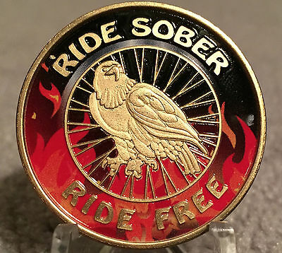 Ride Sober Ride Free Flames & Black Eagle Sobriety AA Medallion Chip Colored