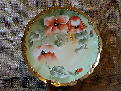 Limoges France Hand Painted Signed Coral Floral Gold Gilt Decorative Plate