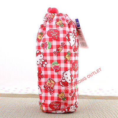 Hello Kitty Thermo Thermal Insulated Cooler Water Bottle Bag Bear Cherry G37a
