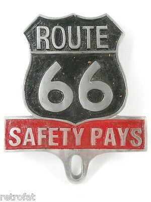 ROUTE 66 SAFETY PAYS LICENSE PLATE TOPPER FRAME TAG SIGN BADGE TRUCK MOTORCYCLE