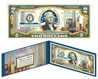 WORLD TRADE CENTER 9/11 * 10th Anniversary * Colorized $2 US Bill FREEDOM TOWER