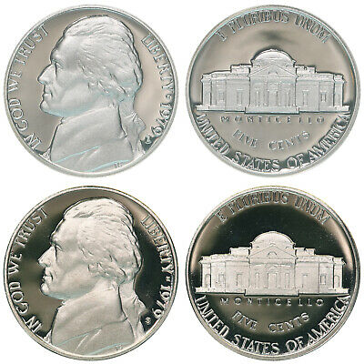 1979 S Jefferson Nickel Type 1 & Type 2 Clear S Gem Deep Cameo Proof 2 Coins