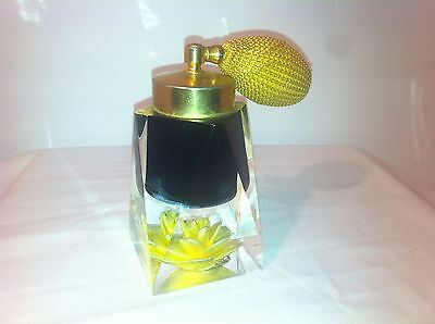 Vintage Perfum Bottle, Fashioned By Jane Art, Nyc, Yellow, Flower, Glass